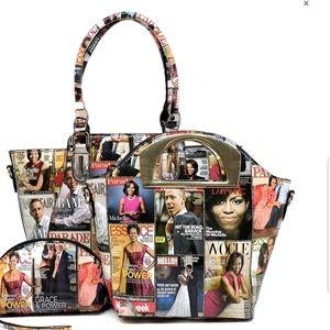 Michelle Obama magazine collage purse set